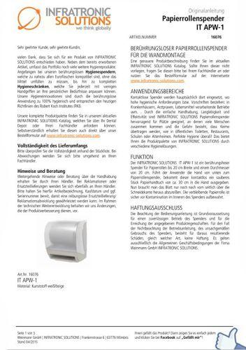 Papierrollenspender IT APW-1 Anleitung