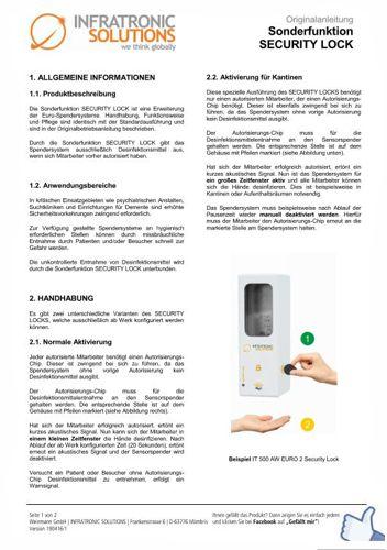 Sensorspender mit Sonderfunktion  Sicherheitsfunktion SECURITY LOCK