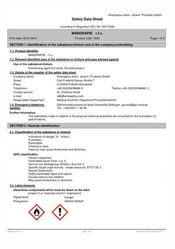 Sicherheitsblatt Polyalcohol Infratronic Solutions englische Version