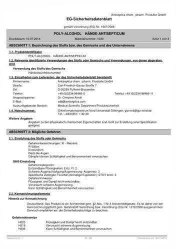 Sicherheitsblatt Polyalcohol Infratronic Solutions