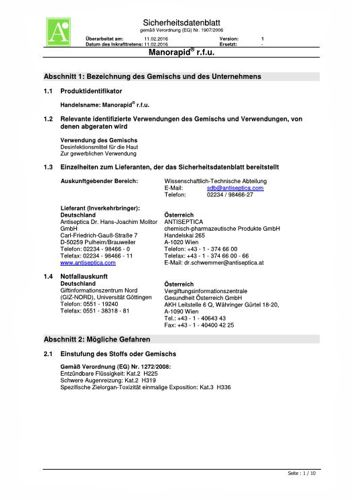 Sicherheitsdatenblatt Manorapid r.f.u  infratronic Solutions
