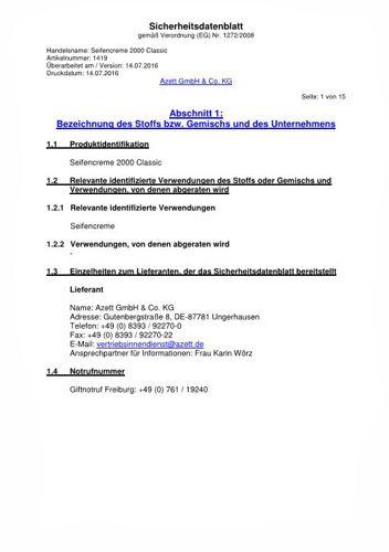 Sicherheitsdatenblatt Seifencreme Infratronic Solutions