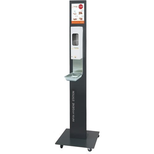 Infra Hygiene Station mit Rollen und IT-1000 AW-Euro Sensorspender
