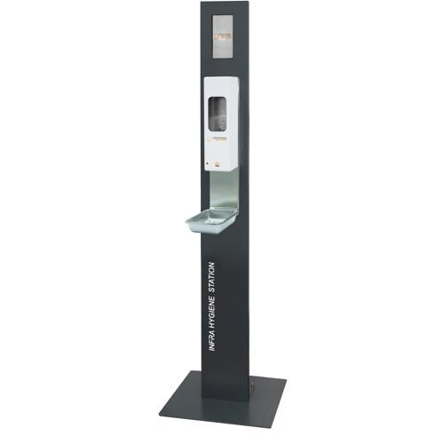 Infra Hygiene Station mit Standfuß und IT-1000-AW-EURO Sensorspender