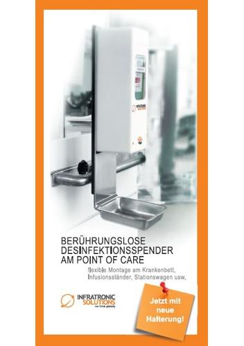 Berührungslose Desinfektionsspender (AM POINT OF CARE) , flexible Montage am Krankenbett, Infusionsständer, Stationswagen usw.