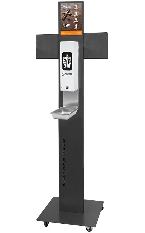 Hygienestation mit Rollen für Weihwasser